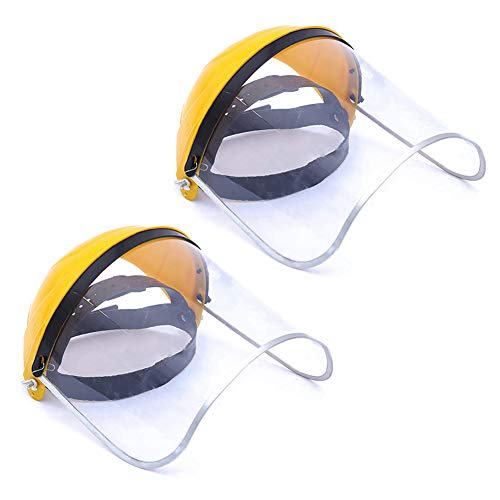Anseal Purpose Face Shield, Clear PVC Shield, Yellow Adjustable Ratchet Headgear with Blue Comfort Temple Band Lightweight, Universal (2 Pack, Yellow) from Anseal