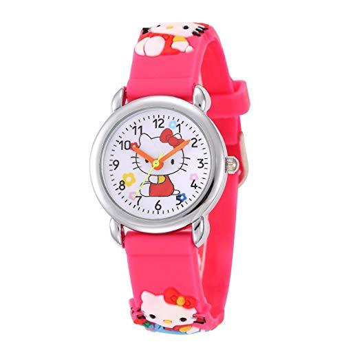 Hello Kitty Reloj niña Cuarzo analógica Pulsera Caucho Rosa: Amazon.es: Relojes