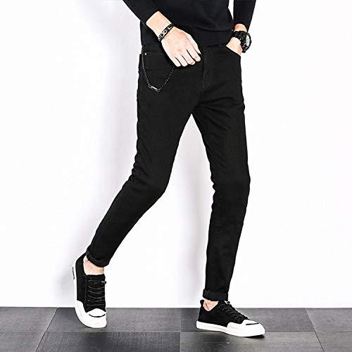 Jeans Negro para Hombres Hombres Yasminey Cultivo Elásticos Jeans Colour Media Propio Cintura Joven Jeans Base Fashion Straight Hombres YxXRH
