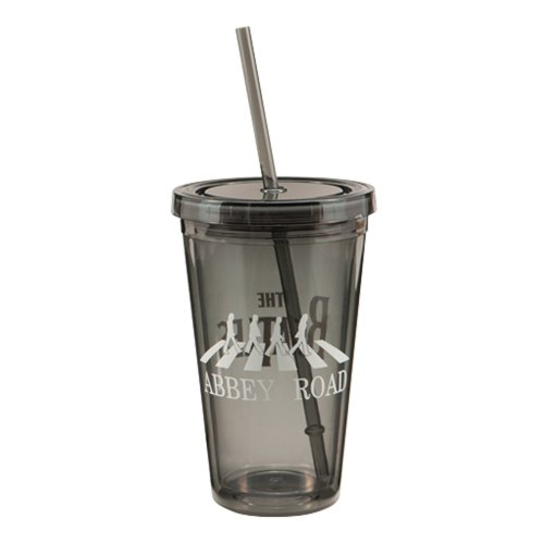 Vandor 64551 The Beatles Abbey Road 18 oz Acrylic Travel Cup with Lid and Straw, Black