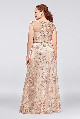 David S Bridal Floral Embroidered Illusion Plus Size Ball