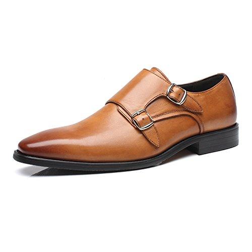 Casual Double Oxford cognac 2 Formal Strap Monk Business Shoes for Loafer Leather Comfortable On Men Slip Milano Dress Mens La pgxzwq7E7