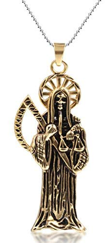 Lena Jewelry Mens Death Grim Reaper Skull Scythe Pendant Necklace Gold 24