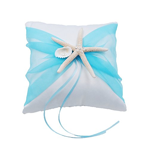 Abbie Home Organza Bowknot Wedding Ring Pillow + Flower Basket Set Romantic Beach Wedding Party Favor-Tiffany Blue by Abbie Home (Image #1)