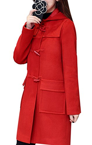 Lingswallow Women's Vintage Casual Wool Blend Loose Long Parka Duffle Coat With Hood Red -