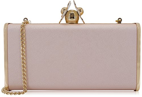 Dexmay Womens Clutches Large Evening Bag with White Flower Closure Metallic PU Leather Clutch Purse Champange