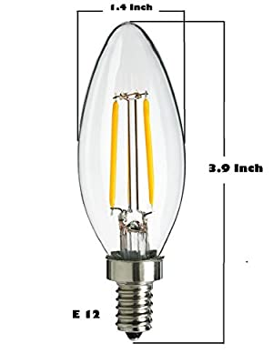 LED 2W ,Candle Light Filament Light Bulb, Torpedo Tip (E12), Dimmable, 2700K (Pack of 4)
