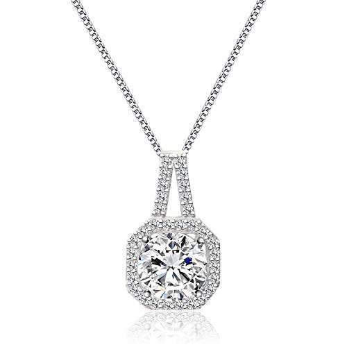 Cat Eye Jewels S925 Stamp Sterling Silver AAAA 2.25ct Halo Zircon Pendant (Cubic Zircon Cross Pendant)