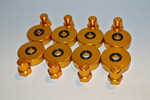 Gold Billet Aluminum Valve Cover Washer & Cup Nut for DOHC VTEC B16a B18c B16B Type R ()