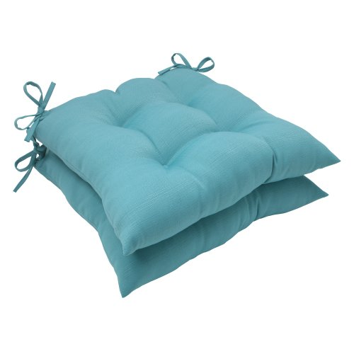 Pillow Perfect Outdoor Forsyth Tufted Seat Cushion, Set of 2, Turquoise