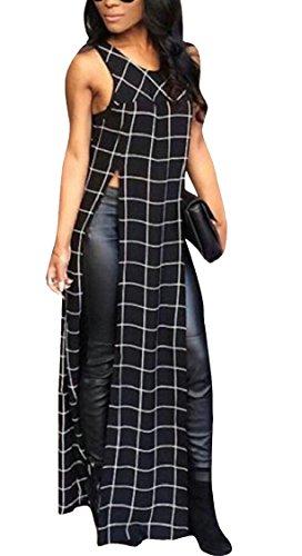 Dress Jaycargogo Beach Sleeveless Women's Tank Plaid Summer Black Split Maxi aqH8ar