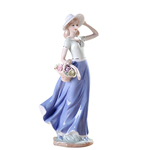 Sunny World Fine Ceramic Woman Porcelain Figurine Beauty Girls with Flowers, 11.8-inch Home Decorations