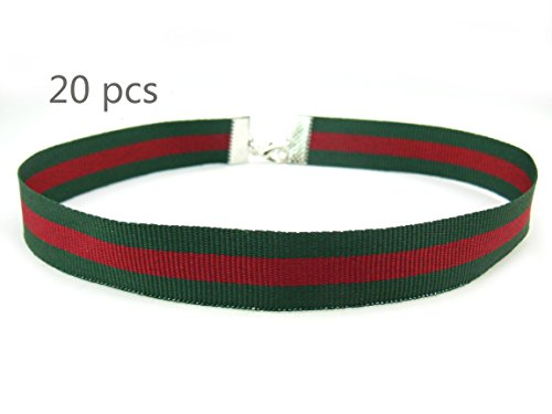 COIRIS 20pcs 5/8'' Width Green Red Stripes Chokers Necklace with Extension Chain for Girls Women (XL1028-5) for $<!--$12.69-->