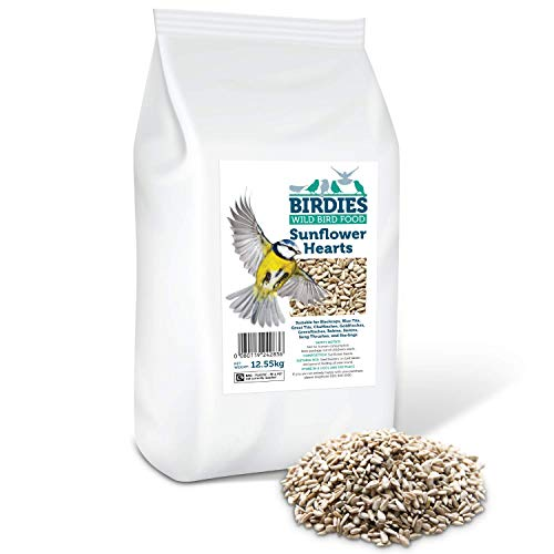 Birdies Sunflower Hearts- Bird Seed for Wild Birds -12.55kg Premium Husk Free Bakery Grade Kernels