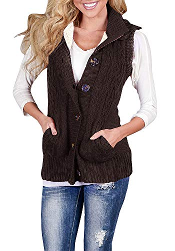 Button Up Sweater Vest - Mafulus Womens Hooded Sweater Vest Sleeveless Button Down Cardigan Loose Cable Knit Warm Outerwear with Pockets Brown