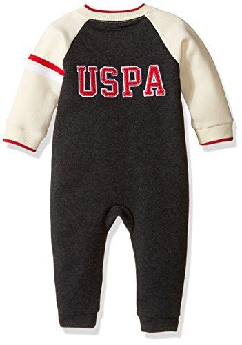 U.S. Polo Assn. Baby Boys'' Fleece Varsity Romper