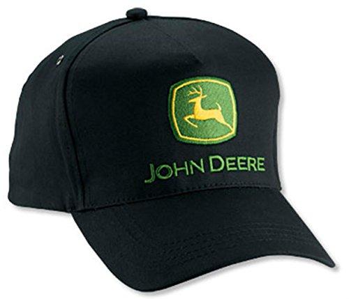 (NEW John Deere Black Twill Tall Front JD Cap Hat)