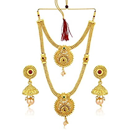 Sukkhi Classic Gold Plated Wedding Jewellery Long Haram Necklace Set For Women (N72489GLDPH022018)
