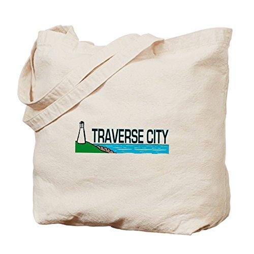 CafePress - Traverse City, Michigan - Natural Canvas Tote Bag, Cloth Shopping - Michigan City Shopping Traverse
