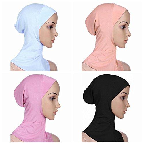 Ksweet 4pcs Lightweight Elastic Hijab Caps Full Cover Hijab Bonnet Islamic Scarf for Women Turban (Black+Plum+KQ+White)