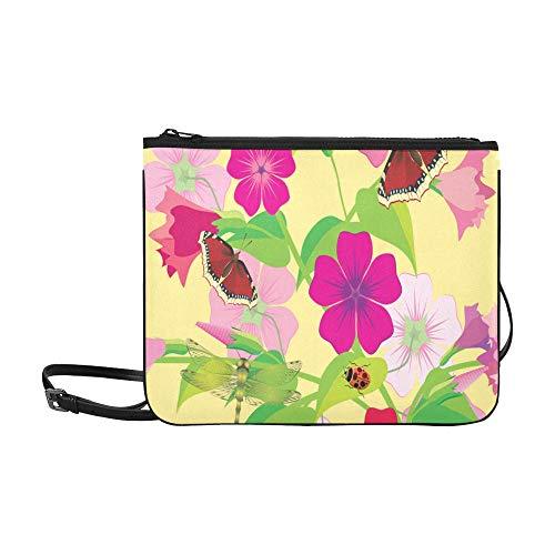 Colorful Spring Flower Butterfly Dragonfly Beetle Pattern Custom High-grade Nylon Slim Clutch Bag Cross-body Bag Shoulder Bag