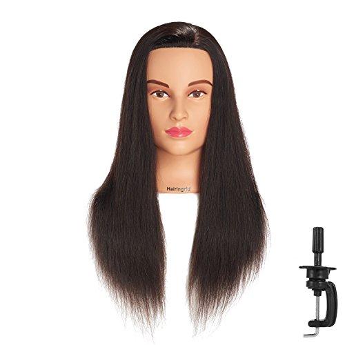 Hairingrid Mannequin Head 20-22100% Human Hair Hairdresser Cosmetology Mannequin Manikin Training Head Hair and Free Clamp Holder (1907LB0214A)