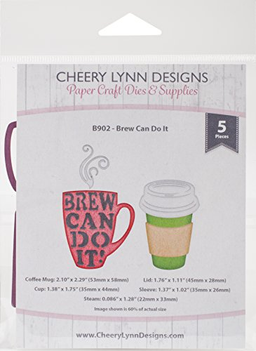 Cheery Lynn Designs Brew Can Do It Scrapbooking Die Cut Set, 5 Piece