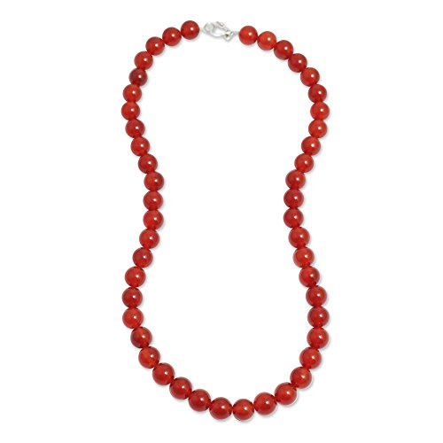 - NOVICA Carnelian .925 Sterling Silver Beaded Necklace, 20