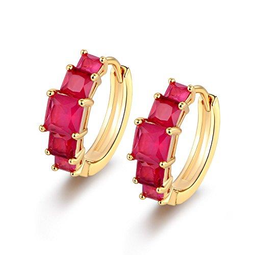 preeyanan Square Garnet Laurel Crown 18K Yellow Gold Filled Ring Hoop Women Lady Earrings