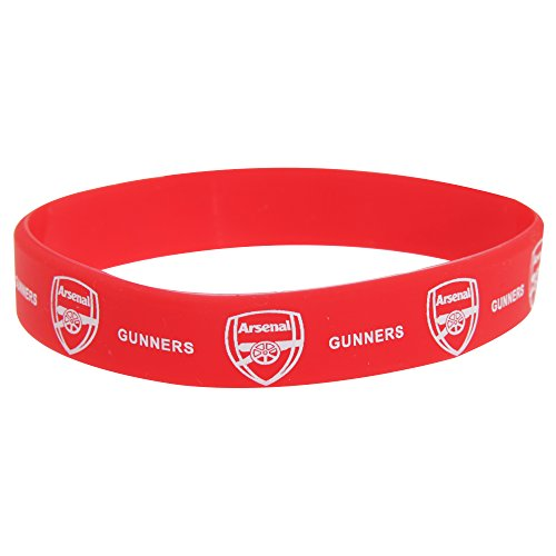 Arsenal FC Official Single Rubber Football Crest Wristband (One Size) (Red)