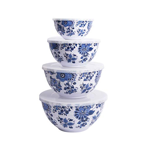First Design Global BLS0219 Decorative Light Blue and White Floral Pattern Serving Bowl Set with Lids, Various Sizes, Large,