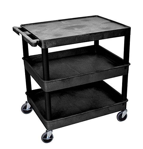 (Luxor TC211-B - Large Flat Top and Tub Middle/Bottom Shelf Cart Black)