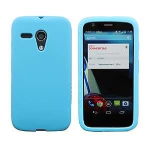 Luxburg® In-Colour Design funda protectora para Motorola Moto G 2013 en color azul turquesa, funda carcasa de silicona TPU