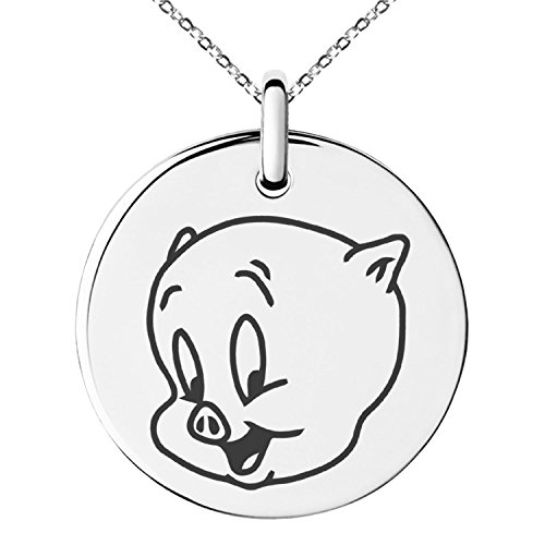 Stainless Steel Looney Tunes Porky Pig Engraved Small Medallion Circle Charm Pendant Necklace