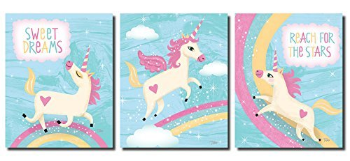 Adorable Inspirational Unicorns and Rainbows; Perfect for a Child's Room or Nursery; Three 8x10in Poster Prints. Light Blue, Pink, Yellow