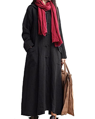 M2MO Womens Casual Loose Long Sleeve Cotton Linen Maxi Dresses Robe Black US 3XL