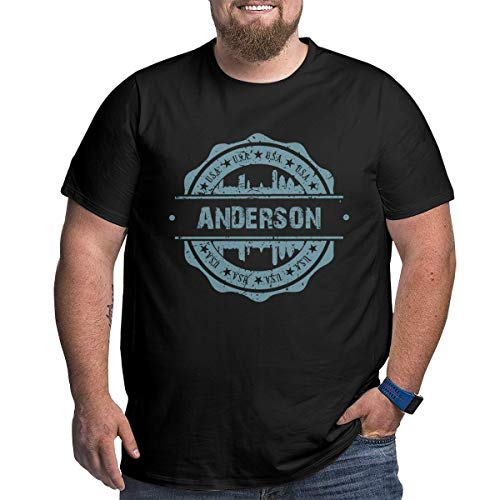 Big Size Men's Anderson Indiana Short Sleeve Cotton T-Shirts Blouse Tee Top Black