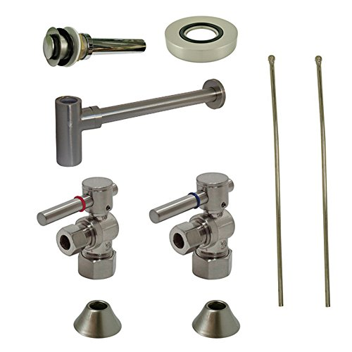(Kingston Brass CC53308DLVKB30 Contemporary Plumbing Sink Trim Kit with Bottle Trap for Vessel Sink without Overflow Hole, Satin Nickel)