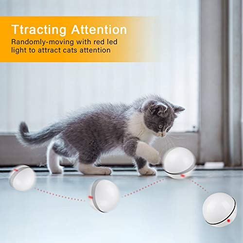 Unibelin Interactive Cat Toy Ball-Smart Pet Toy Self Rotation Rolling Ball USB Rechargeable Built-in LED Light for Cat Kitty Exercise Chase Play 3
