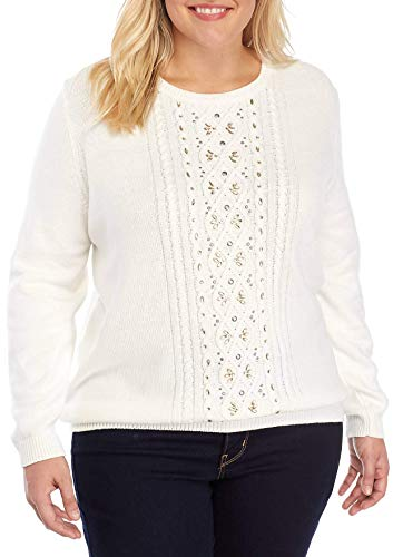 Alfred Dunner Women's Plus Size Eskimo Kiss Sweater (Ivory, 2X) ()