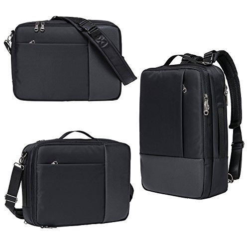 Riavika 3-Way Convertible Laptop Backpack Briefcase Messenger Bag Backpack-Black (3 Backpack)