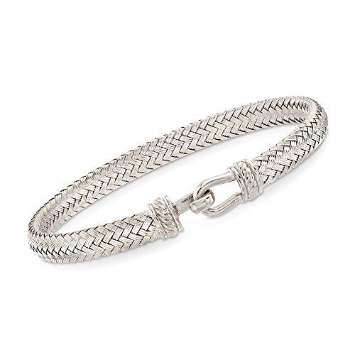 (Ross-Simons Italian Sterling Silver Basketweave Bracelet. 7.5