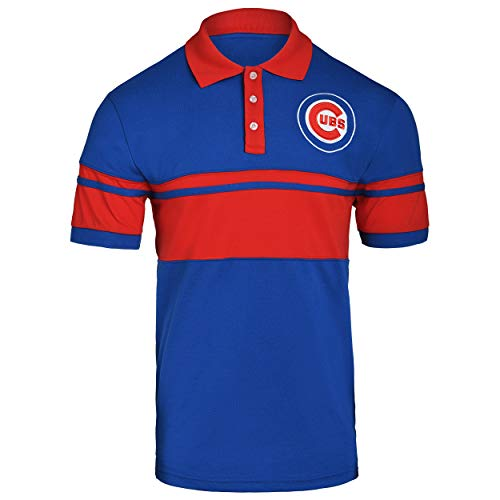 - FOCO MLB Chicago Cubs Cotton Stripe Polo - Mens Double Extra Large