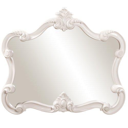 Lacquer Glossy Finish White - Howard Elliott Veruca Rectangular Mirror, Ornate Wall Piece, Glossy White Lacquer, 28 x 32-Inch