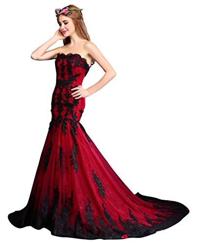 Vimans Women's 2016 Black and Red Strapless Lace Bridal Evening Dresses, 14
