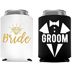 Bride and Groom Can Coolers, Set of 2, 1 White and 1 Black Beer Can Coolies, Cute Wedding Gifts, Novelty Can Cooler, Perfect Engagement or Anniversary Gift, Bridal Shower Gift