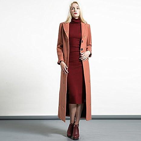 Womens HIDRRU Lana la longitud del pelo que chaquetas, abrigos largos, lana es naranja