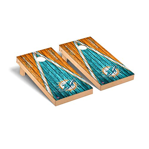 Victory Tailgate Miami Dolphins NFL Football Regulation Cornhole Game Set Triangle Weathered Version
