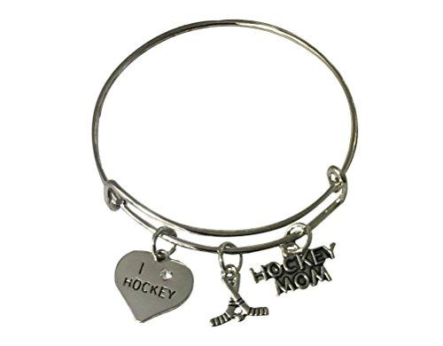 Charm Mom Hockey - Infinity Collection Hockey Mom Charm Bracelet, Hockey Mom Jewelry for Mom