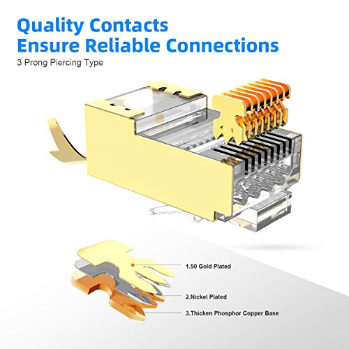 TV AMPCOM S//FTP CAT8 Ethernet Cable High Speed Patch Cable 10Gbps Switch 25Gbps Xbox 40Gbps with Gold Plated RJ45 Connector for Gaming,/Playstation Router 6.5ft//2m